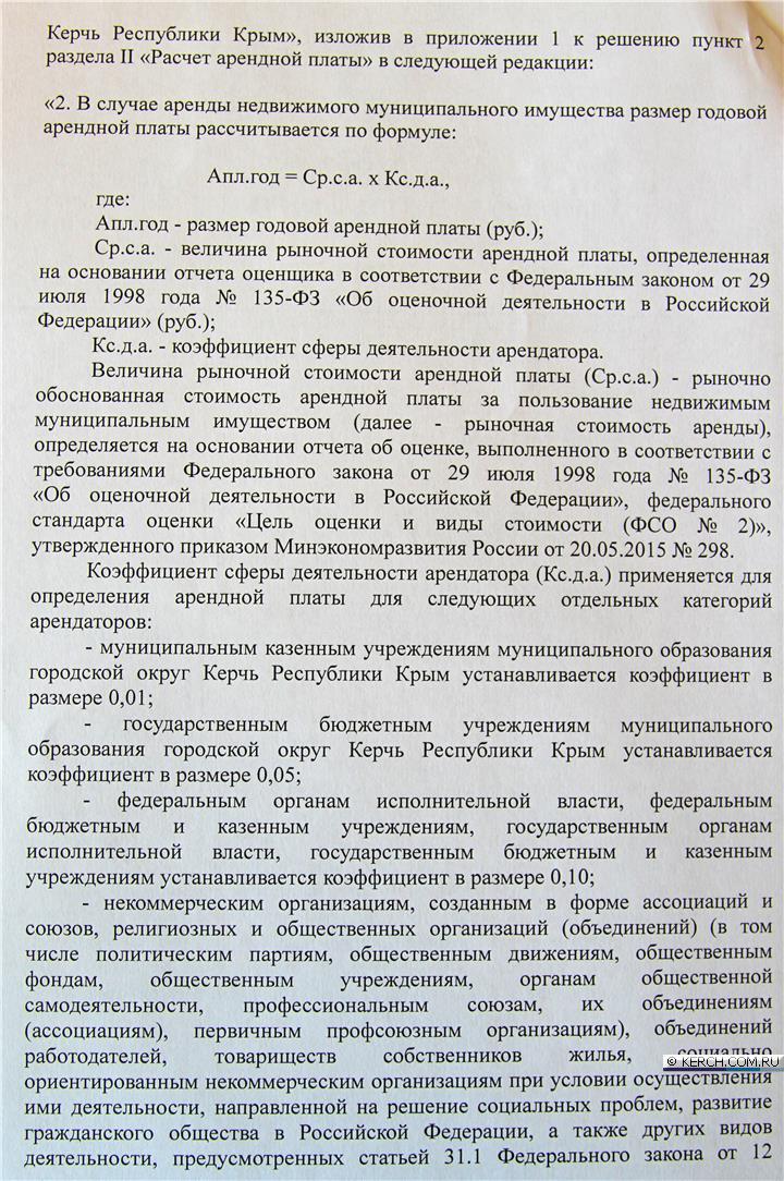 Депутаты керчи приняли понижающий коэффициент при расчете ар.